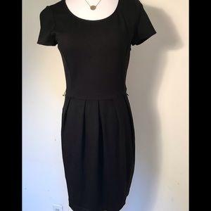 DKNYC fitted stretch knit black dress
